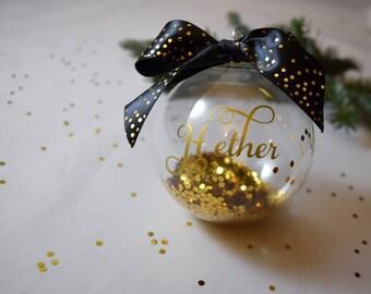 Personalized Black and Gold Glitter Ornament, Christmas Ornament, Ornaments, Holiday Ornament, Christmas Decor, Christmas, Glass Ornament