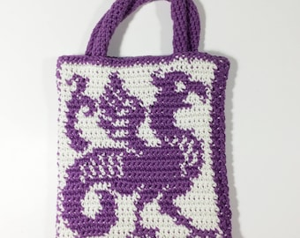 Tapestry Crochet Gargoyle bag, Dragon Purse, Purple Gargoyle Bag, Medieval Handbag, Renaissance Purse - Free Shipping Domestic
