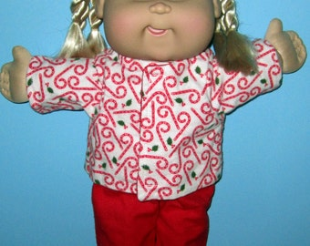 Cabbage Patch Kids, Doll Clothes, Christmas Candy Cane Pajama Set, 15  16 Inch Doll Clothes, Vintage Classic Boy or Girl Doll Clothes