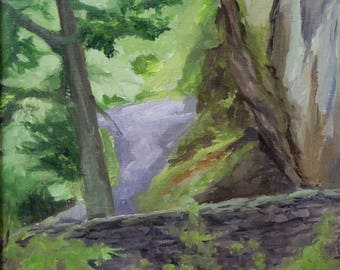 Oil Painting, Ft. Tryon Park NYC, Stone wall & Path