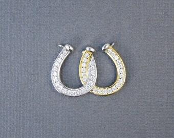 Horseshoe Charm Pendant -- Gold Vermeil and Sterling Silver Double Horseshoe Double Bail Charm Pendant with Rhinestone Pave (LA-27)