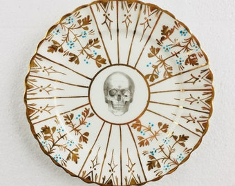 Skull Cake Tea Plate Gold Turquoise Flowers Pattern White Vintage Bone China Made in England Wedding Anniversary Gift Wall Art Collage