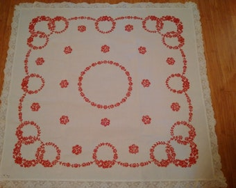 Vintage Hand Embroidered Square Table Cloth with Lace Trim