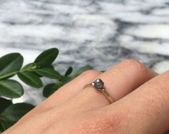14 K Yellow and White Gold Engagement Ring with Rough Gray Diamond Nugget