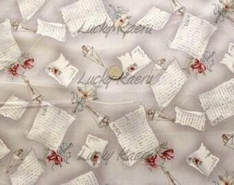 Yuwa Live Life, Letters Flowers Light Grey (Color B) Japanese Fabric  - Half Yard