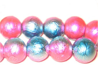 "12mm Drizzled Fuchsia / Turq Bead, 8"" string"