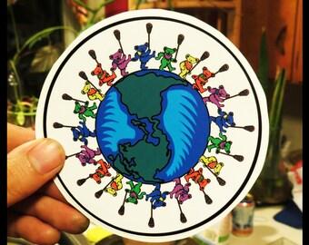 Lacrosse Dancing Bears Around the World Grateful Dead High Quality Vinyl Sticker