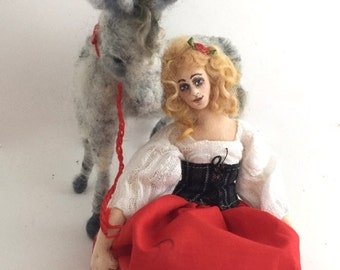 Cloth art doll needle felt grey donkey soft sculpture Dulcinea from Don Quixote classic tale