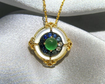 18Kt gold  necklace with 0.21ct of emerald and 0.14ct of sapphire,pinctada maxima pendant Gradient Sapphire