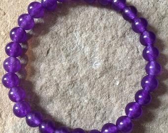 Amethyst semi precious gemstone 6mm bracelet