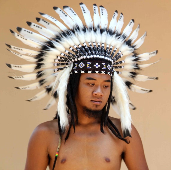 White indian headdress replica, long length, native american inspired feathers warbonnet, feather headdress boho