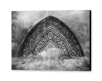 Black and White Gothic Victorian Era Cemetery Grave Headstone Surreal Gothic Mortuary Fine Art Photography Giclee Gallery Wrap Canvas