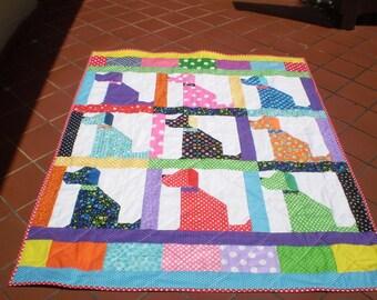 Handmade Baby Quilt, Baby quilt, Lap quilt, dog quilt, Patchwork crib quilt, Baby Boy bedding, Baby girl quilt, scraps, toddler, Puppy Love
