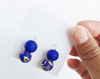 Clay Threader Earrings, Blue + Gold