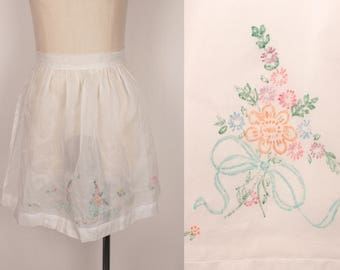 vintage sheer apron // unfinished embroidery