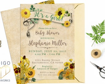 Sunflower Baby Shower Invitation, Rustic Baby Shower, Baby Girl, Country Floral Digital Printable Invite, Vintage Flower Print at Home