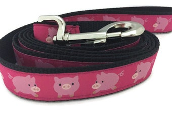 Dog Leash, Pigs, 1 inch wide, 1 foot, 4 foot, or 6 foot