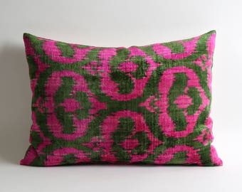 ikat, pink velvet pillow, throw pillow, pillow cover, velvet ikat pillow, neon pink pillow, pink cushion, ikat pillows, ikat throw pillows
