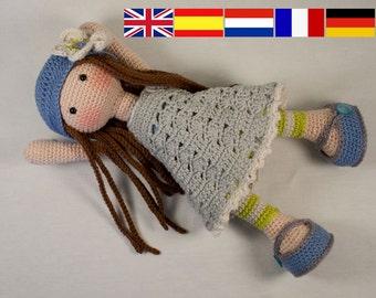 Crochet pattern for doll LILLY (Deutsch, English, French, Nederlands, Español)