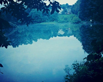 Nature Photography landscape summer photograph green blue dark lake water reflections leaves leaf home decor wall art wall decor photo art