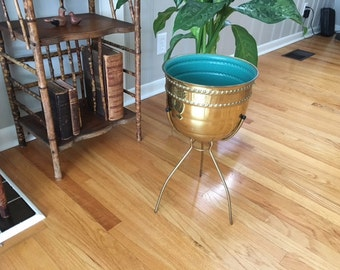 "Vintage Mid century Modern Brass plant stand/planter by "" Contempora"" on tripod"