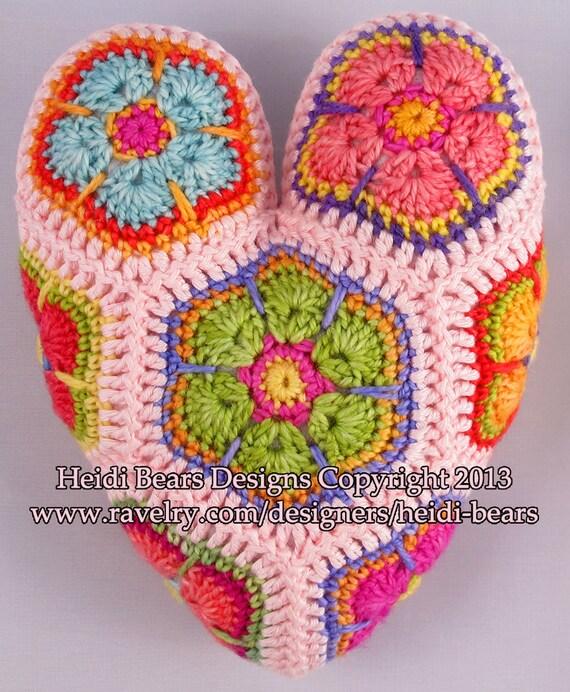 Hippy Hearts African Flower Crochet pattern from heidibears on Etsy ...