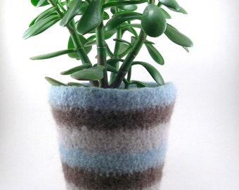 Wool felted planter - wool plant pot - striped planter - seafoam, smoke gray and taupe