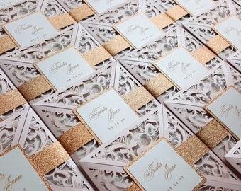 Blush and gold Laser cut wedding invitation - Laser cut wedding invite with custom monogram {Pansy design - Sku: PnsAra01}