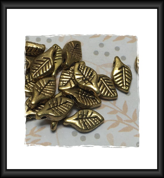 Antique Gold Finish Leaf Beads 11 x 6 mm - 10 beads