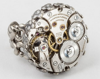 Steampunk Ring Vintage Rare Longines watch movement gears silver filigree adjustable cocktail ring Statement Ring Steampunk jewelry
