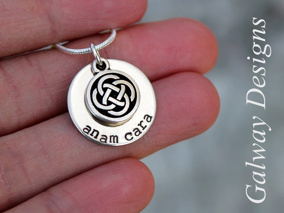 Dainty irish hand stamped mommy necklace anam cara gaelic mozeypictures Gallery