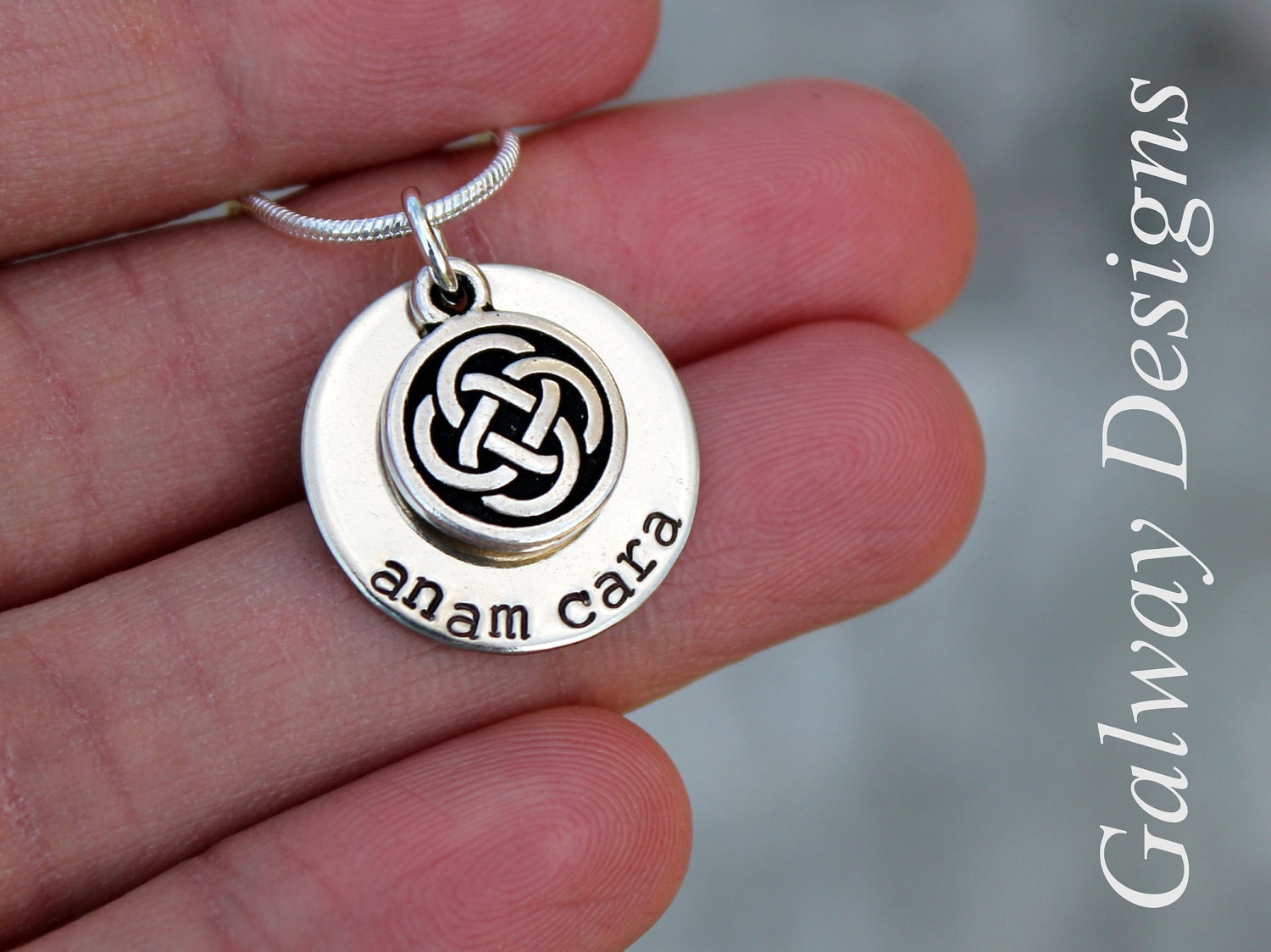 Dainty irish hand stamped mommy necklace anam cara gaelic zoom mozeypictures Gallery