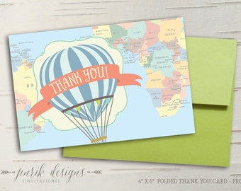 Hot Air Balloon Thank You Card - Folded || Oh the Places You'll Go || Travel Baby Shower or Birthday Invitation