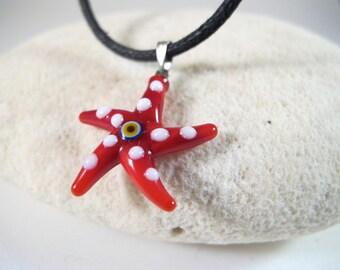 Red Starfish Evil Eye Pendant