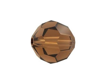 Swaovski 5000 round bead smoked topaz 6mm - Quantity of 36 beads