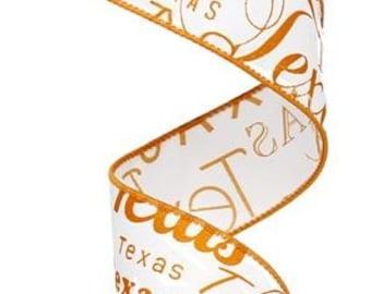 Wired Ribbon, Orange White Texas Wired Ribbon, Wreath Ribbon, Bow Ribbon, Gift Package Ribbon, Texas Ribbon, Floral Ribbon, Scrapbook ribbon