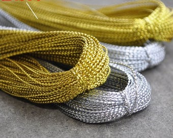 100 Yards Light Gold/Silver String Gift Wrapping Hang Tag String Crafting Suppiles