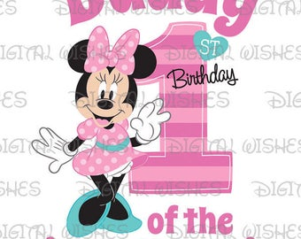 Minnie Mouse 1st Birthday stripes hearts Daddy of the Birthday Girl Digital Iron on transfer image clip art INSTANT DOWNLOAD DIY for Shirt