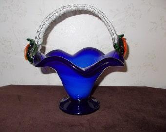 Colbalt Blue Glass Basket