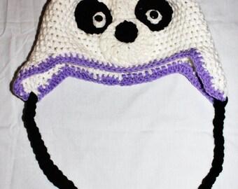 Panda Hat Crochet White and Black Panda Winter Hat