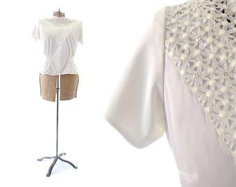 White Blouse, Lace Blouse, Rhinestone Studded, White Top, 1950s Top, Womens Blouses, Vintage Blouse, White Shirt, Large Blouse, 1950s Blouse