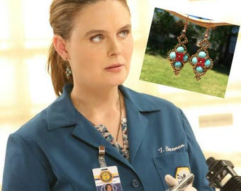 Temperance Brennan Bones Celebrities Wearing Turquoise Brass  and Red Beaded Dangle Fashion Womens Earrings On TV Bones Fans Gift for Mom