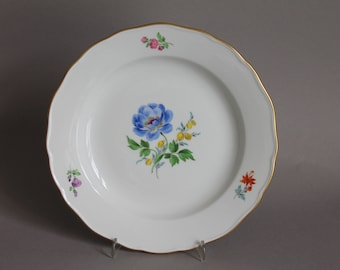 "Meissen Crossed Swords Flower 7.9"" Wall Plate 20th #3"