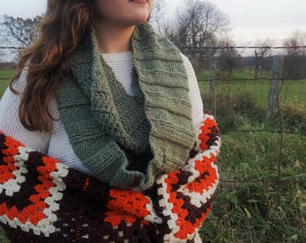 Green Crochet/Knit Infinity Scarf-Fall/Winter Fashion