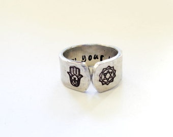 Personalized Cuff Ring, Custom Quote Ring, Engraved Cuff Ring, Hamsa Ring, Chakra Ring, Inspiration / Affirmation Ring