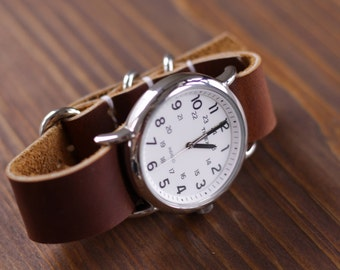 Slip Through Zulu Style Watchband - Thoroughbred Brown Oil Tan Leather