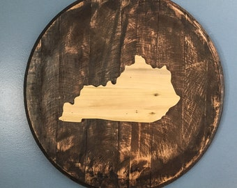 Bourbon barrel head wall art