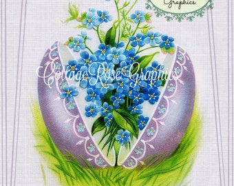 Vintage EASTER Wishes Lavender Easter Egg Large digital download ECS buy 3 get one free romantic cottage single image svfteam Forget me nots