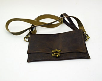 Dark Brown Rugged Leather Purse with Strap and Wristlette Strap
