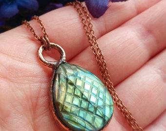 Copper Electroformed Carved Labradorite Pendant Necklace